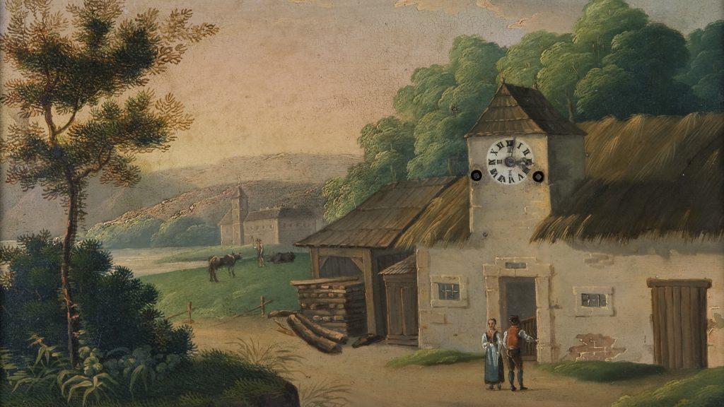 Maalaismaisemaa kuvaava maalaus, jossa etualalla seisoo kaksi hahmoa ja rakennuksen seinässä oleva suuri kello.