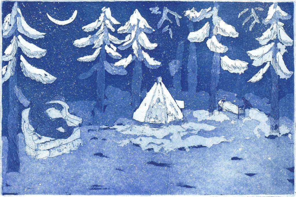 Grafiikan kuva talvisesta metsästä, jossa karhu istuu nojatuolissa ja poika nukkuu sängyssä.