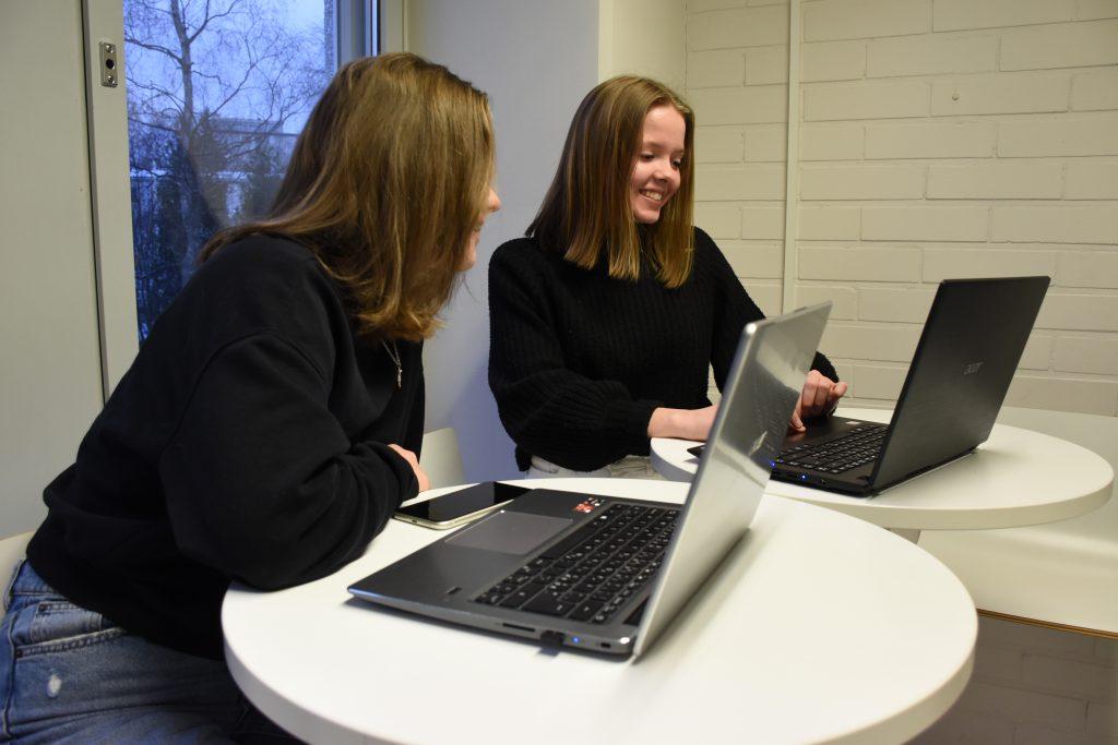 Två flickor vid dator