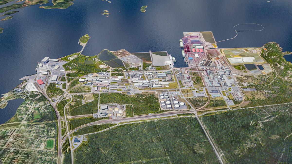 Ilmakuva Kokkolan suurteollisuusalueesta