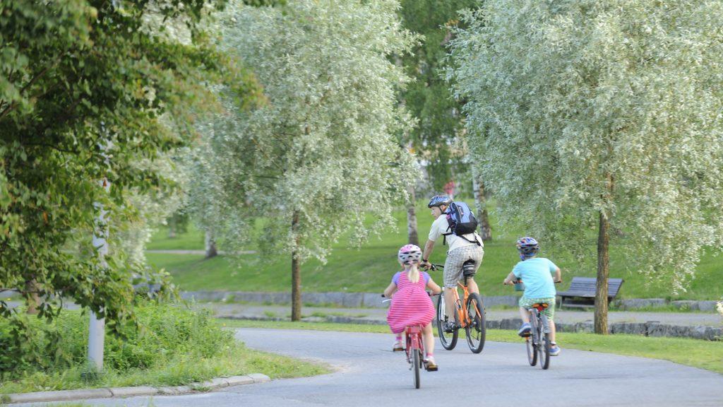 Mies ja kaksi lasta polkevat polkupyörillään kesäistä Suntin rantaa pitkin. Mies ajaa edellä reppu selässään ja lapset tulevat hänen perässään. Kaikilla on pyöräilykypärät päässään ja lähimpänä kameraa olevalla tytöllä on yllään vaaleanpunainen, raidallinen mekko. Miehellä ja toisella lapsella on yllään shortsit ja t-paita. Pyöräilijöiden ympärillä on runsaasti vehreitä lehtipuita ja taustalla olevan Suntin toisella puolella näkyy puistonpenkki.