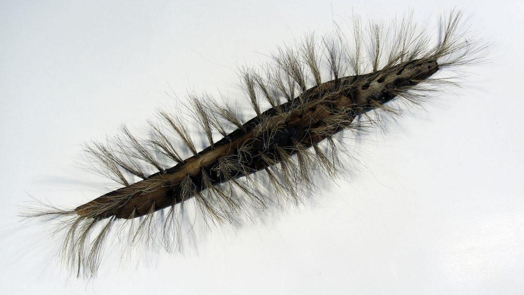 Perhosen toukka, joka on rakennettu puusta ja hevosen jouhista.