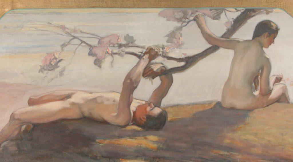 Öljyvärimaalaus, jossa alaston nuori mies lepää ja alaston nainen istuu häneen selin. Henkilöt ovat puun katveessa, omiin ajatuksiinsa syventyneinä.
