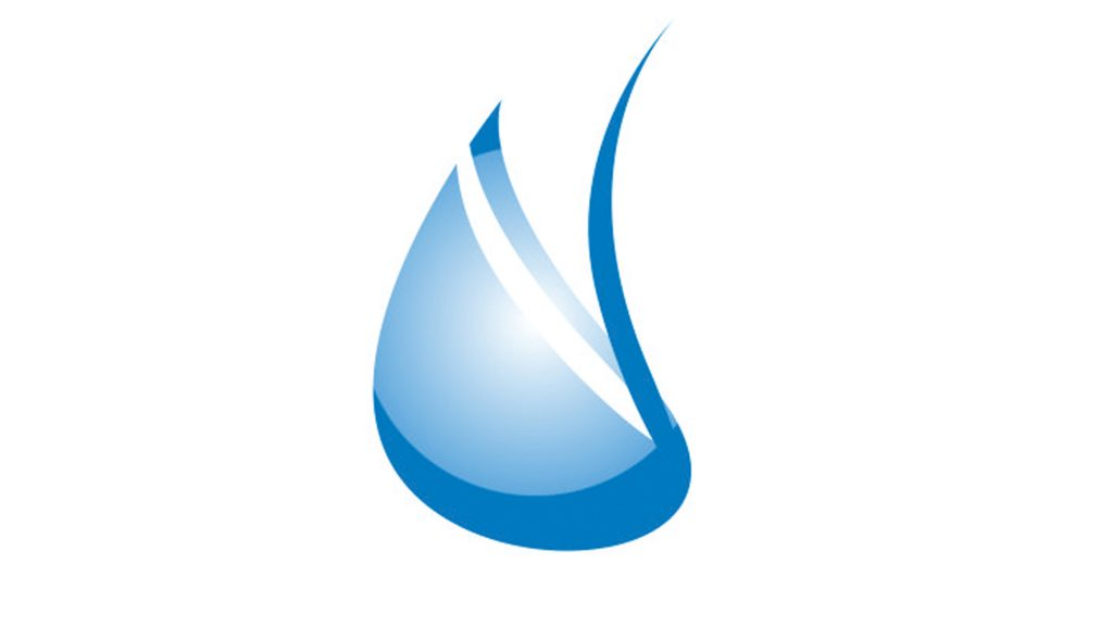 Kokkolan Veden logo, jossa sininen vesipisara valkoista taustaa vasten.