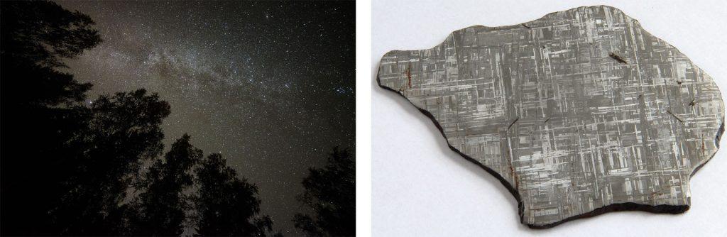 Öinen tähtitaivas, jossa Linnunrata erottuu vaaleana utumaisena nauhana. Gibeon-rauta-nikkeli-meteoriitti. Näyte on sahattu, hiottu, kiillotettu ja etsattu hapolla, jolloin sen eri mineraalit on saatu esille.