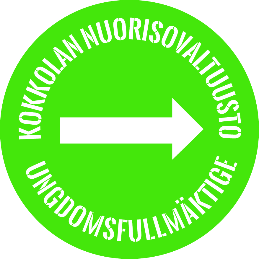"""Vihreällä pohjalla valkoinen """"nuorisovaltuusto"""" ja """"ungdomsfullmäktige"""""""
