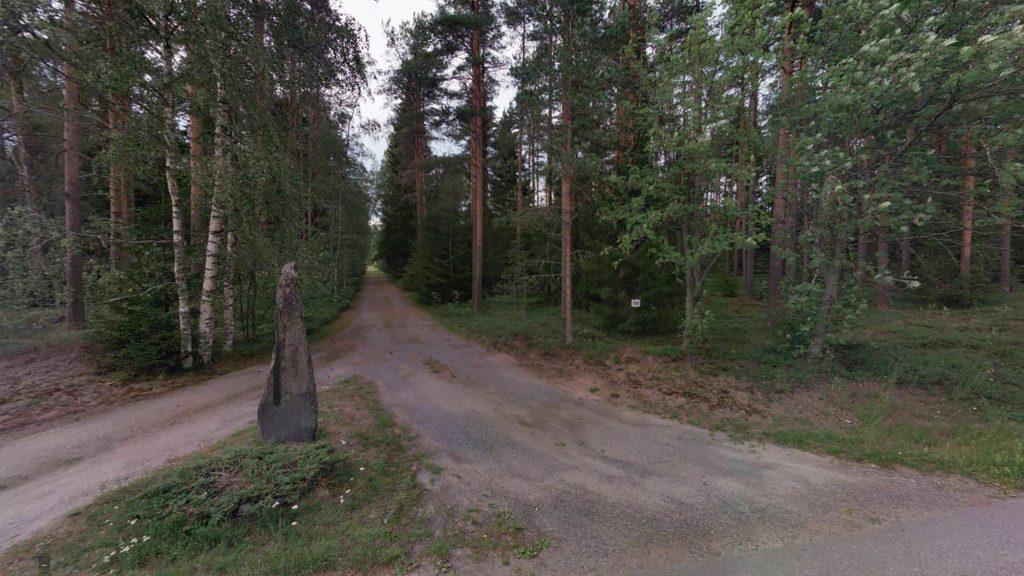 Hiekkatie metsämaisemassa.