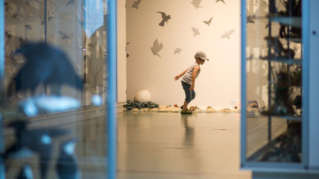 Poika katselee Marjut Järvimiehen Linnunpesä-installaatiota Kiepissä vuonna 2015.