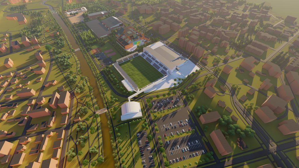 Lintuperspektiivistä tehty havainnekuva suunnitelmavaiheessa olevasta urheilupuiston hybridiareenasta ja sen lähiympäristöstä.