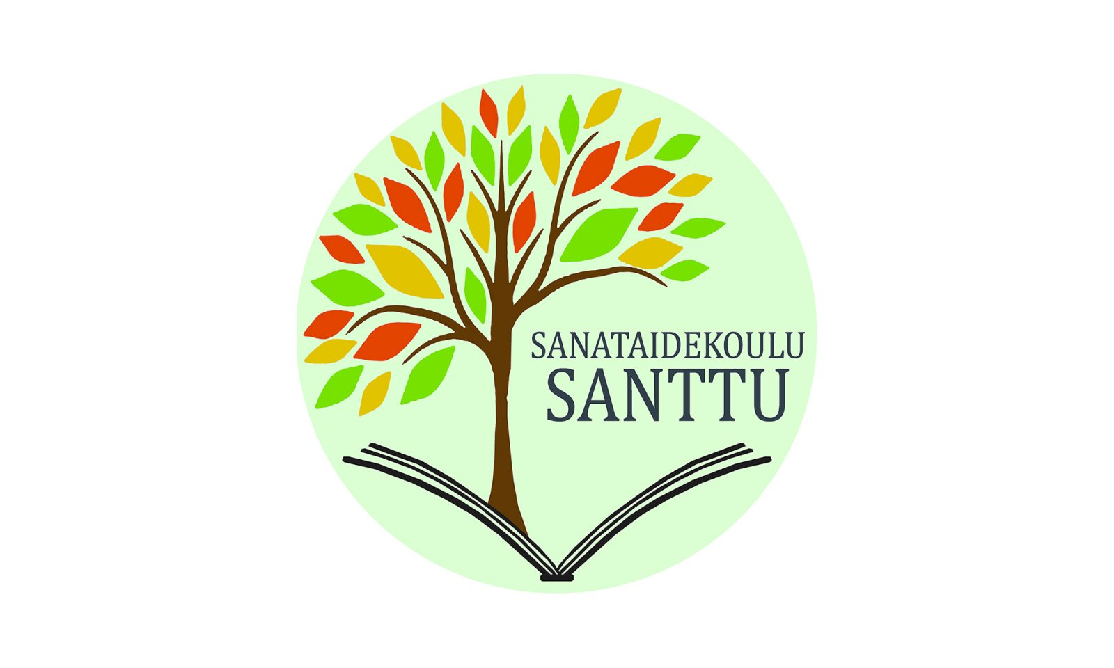 Sanataidekoulu Santun logo, jossa puu ja avoin kirja