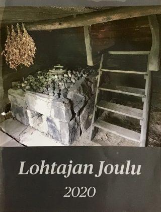 Lohtajan Joulu -lehden kansikuvassa vanha savusaunan kiuas ja saunavihtoja.