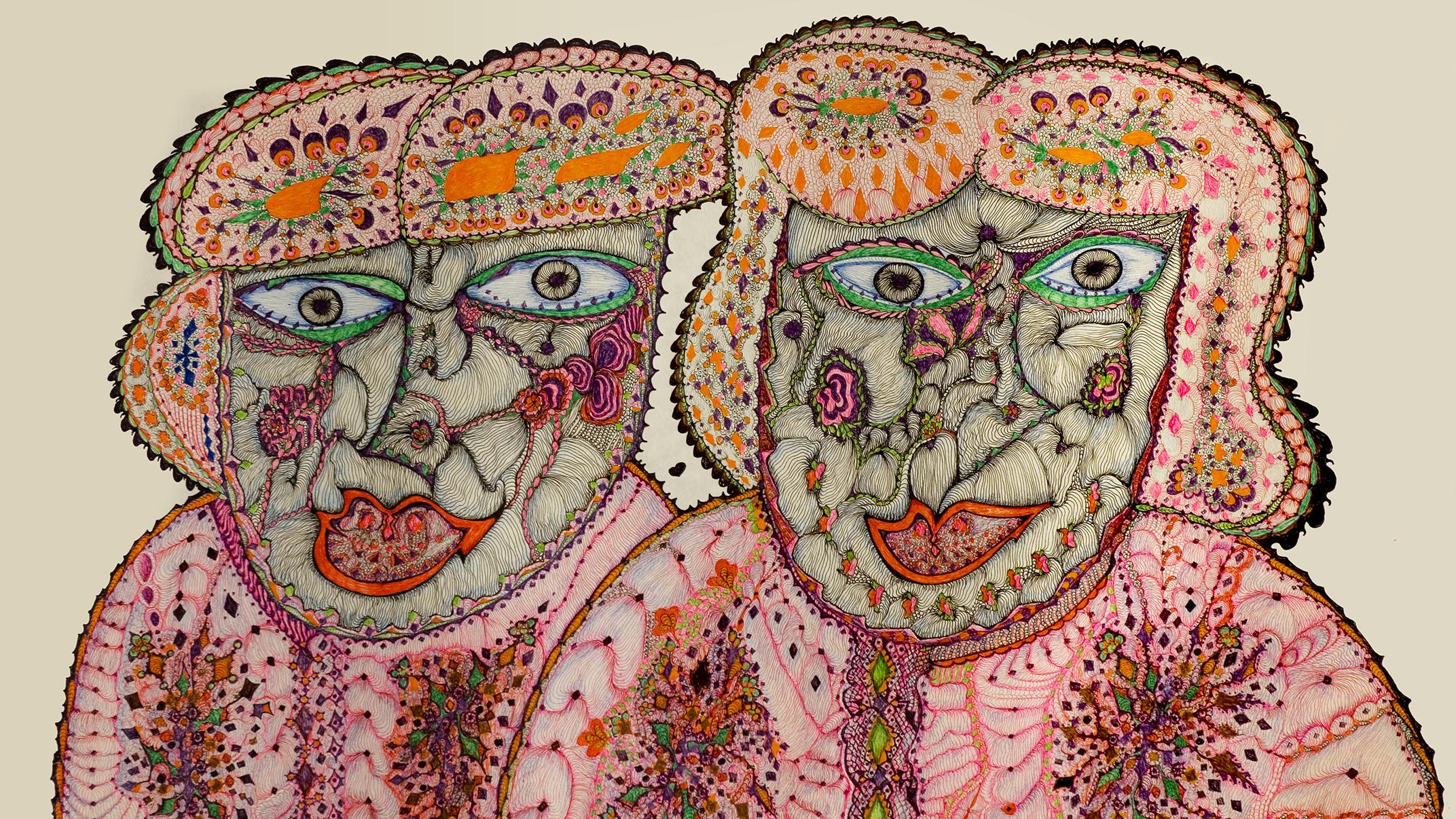 Tuula Huuskon teoskuva jossa kaksi naishahmoa, Kuva Pekka Agarth, rajattu