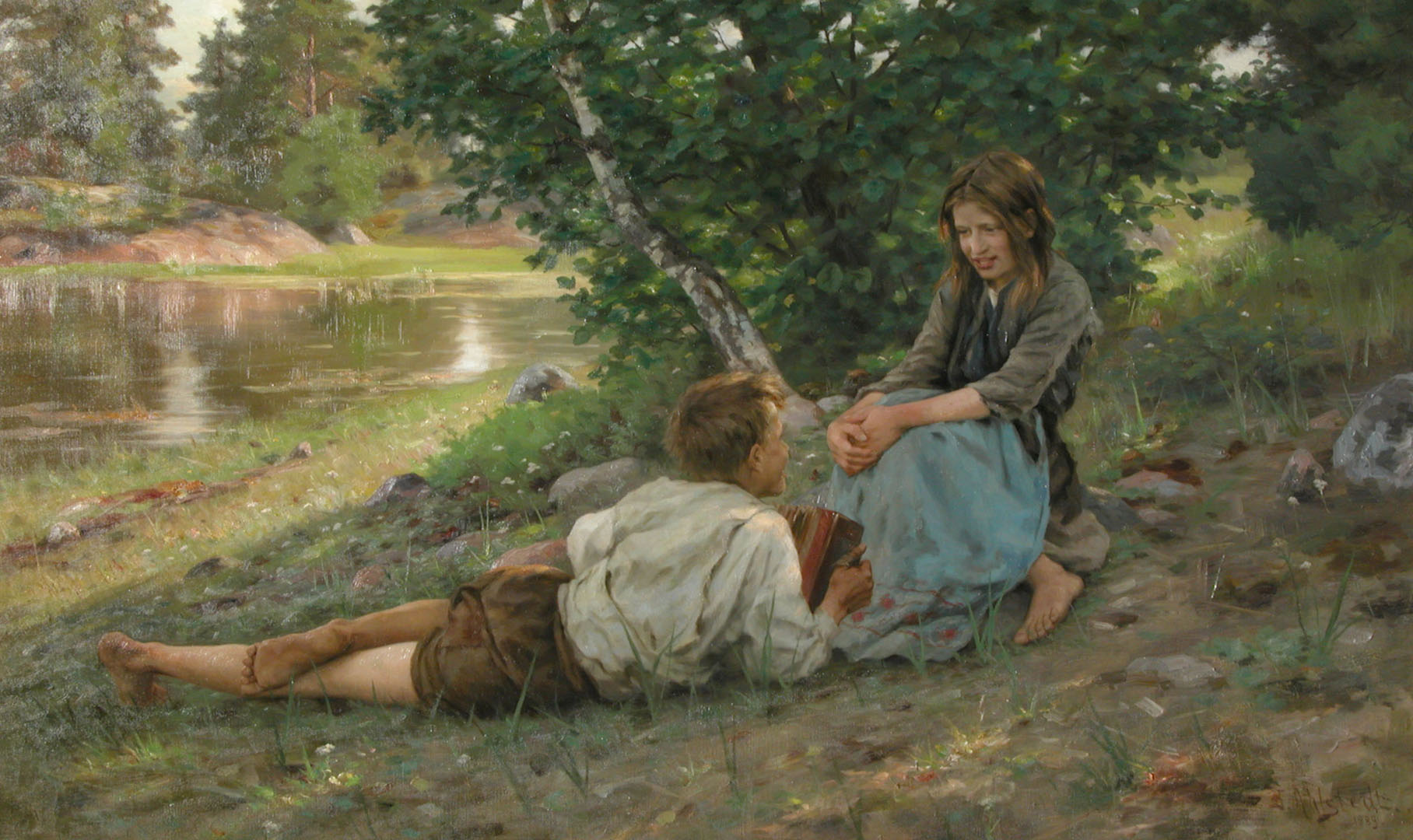 Ahlstedts oljemålning av en flicka och en pojke vid en sjöstrand