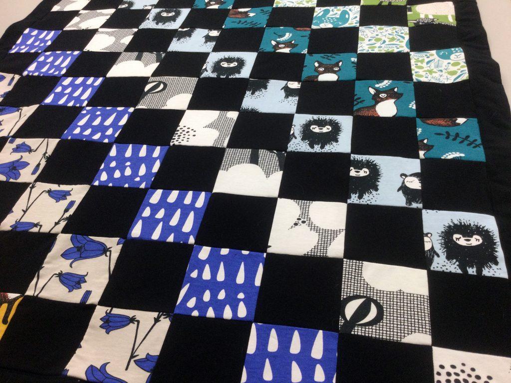 Trikootilkkupeitto, mustia ruutuja vuorottelee kuviolliset ruudut. Väreinä mustan lisäksi sinisen sävyt sekä valkoinen.