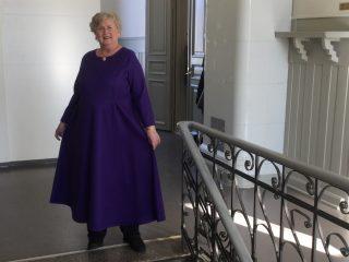 Nainen yllään violetti pitkä mekko.