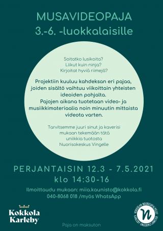 Musavideopaja-juliste, jossa tarkempia tietoja.