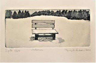 Puiston penkkiä lumipeitteessä esittävä grafiikanvedos.