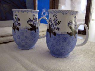 Kaksi mukia; sinisiä kukkia.