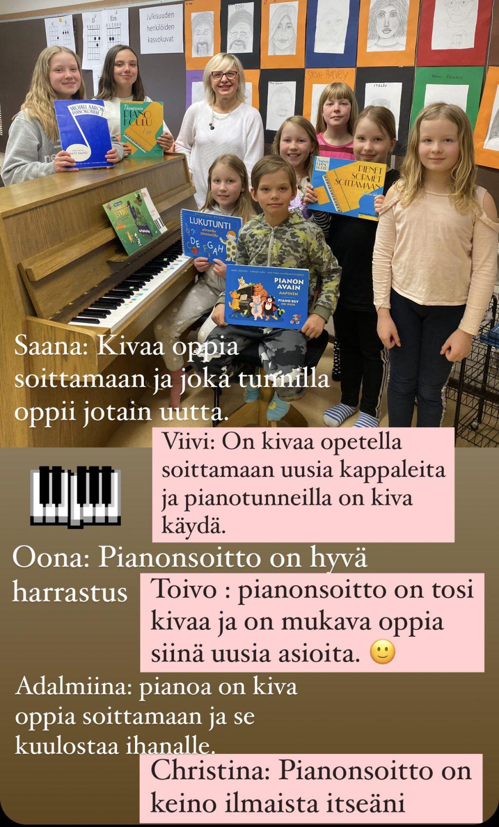 Piano-oppilaiden mietteitä pianonsoiton opiskelusta.