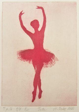 Balettitanssijaa esittävä grafiikanvedos.