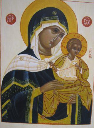 Ikoni maalausvaiheessa; Maria ja Jeesus.