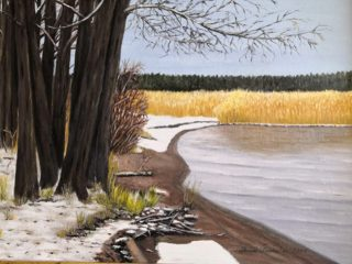 Talvimaisemaa esittävä maalaus.