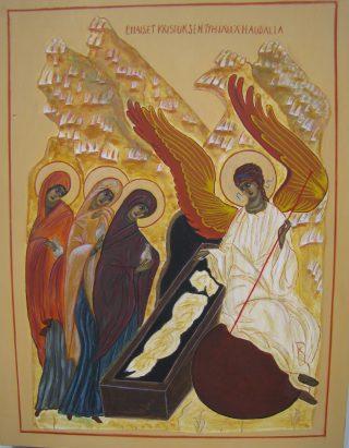 Ikoni; Naiset Kristuksen tyhjällä haudalla.