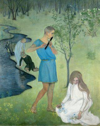 maalaus, jossa nuorukainen soittaa huilua ja nuori neito poimii kukkia niityltä