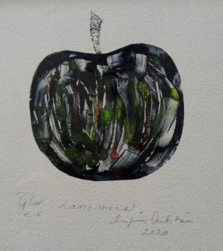 Grafiikan vedos nimeltään lasinen omena.