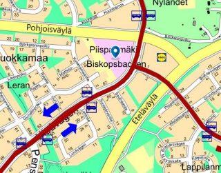 Piispanmäen monitoimitalon sijainti kartalla