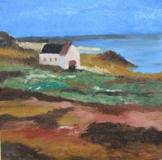 Meren rannalla olevaa rakennusta kuvaava maalaus.