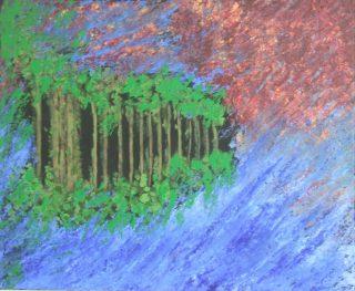Maisemaa kuvaava värikäs maalaus.