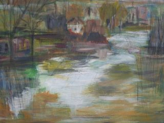 Jokimaisemaa kuvaava maalaus.