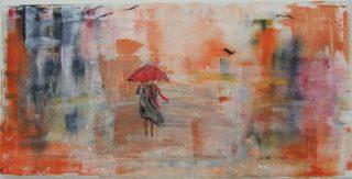 Sateista päivää kuvaava maalaus.