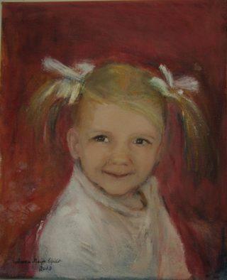 Saparopäistä tyttöä kuvaava maalaus.