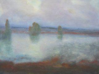 Järvimaisemaa kuvaava maalaus.