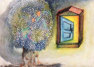 Avointa talon ovea ja puuta kuvaava maalaus.