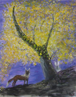 Puuta, jänistä ja kettua kuvaava maalaus.