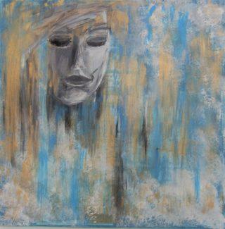 Naisen päätä kuvaava maalaus.