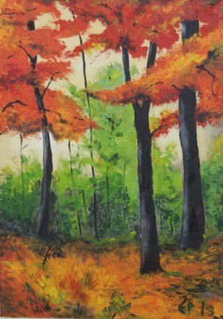 Metsää kuvaava värikäs maalaus.