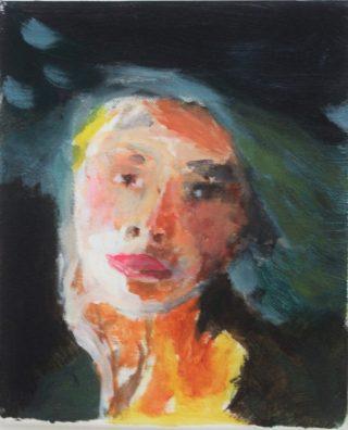 Naisen päätä kuvaava monivärinen maalaus