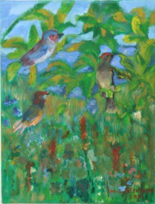 Lintuja puun lehvästössä kuvaava maalaus.