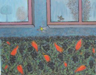 Yksityiskohtaa talosta ja pensasaidasta kuvaava maalaus.