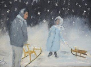 Talvinen maalaus, jossa nainen ja tyttö.