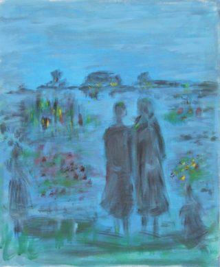 Kahta hahmoa maisemassa kuvaava maalaus.
