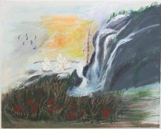 Vesiputousta ja ympäröivää maisemaa kuvaava maalaus.