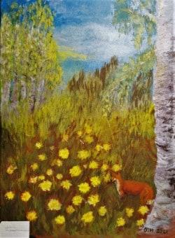 Kettua metsässä kuvaava maalaus.