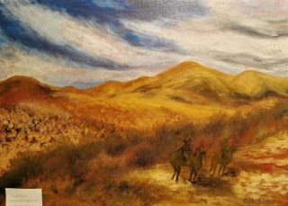 Vuorimaisemaa kuvaava maalaus.